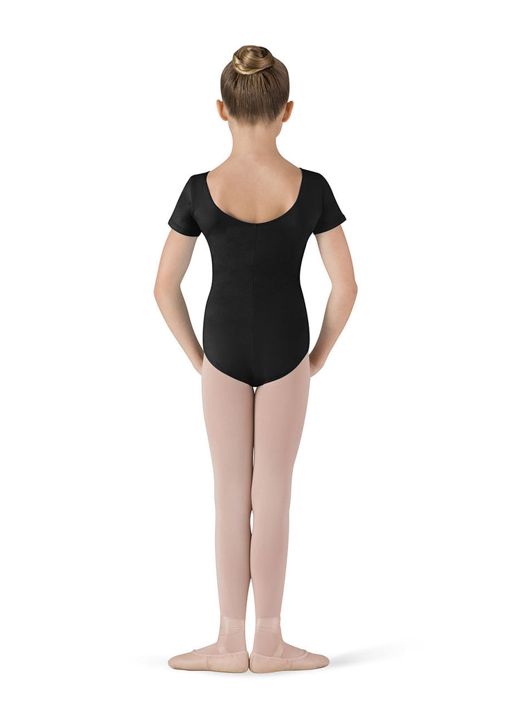 Child Front Dart Short Sleeve Leotard (Black) - Dancer's Wardrobe