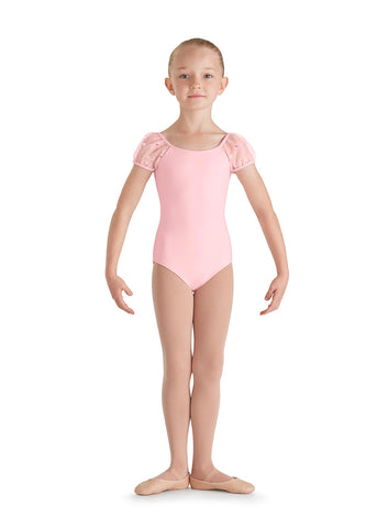 Applique Pugg Sleeve Leotard (Child) (Candy Pink) - Dancer's Wardrobe