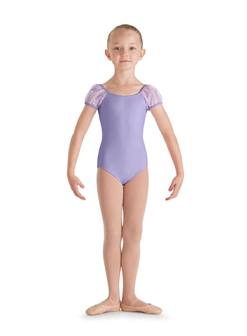 Applique Pugg Sleeve Leotard (Child) (Lilac) - Dancer's Wardrobe