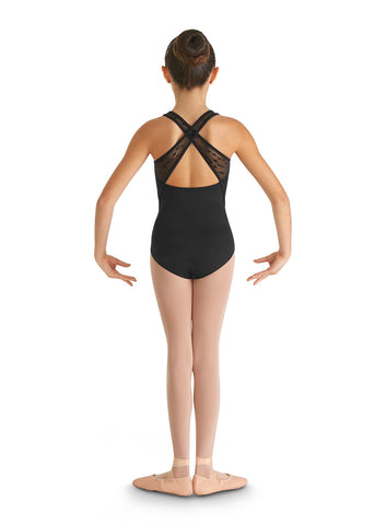 Child Heart Mesh X Back Tank Leotard CL8665 Black