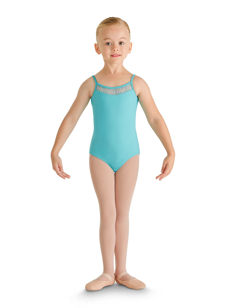 Child Glitter Bow Font Yoke Camisole Leotard CL8857 Blue Radiance