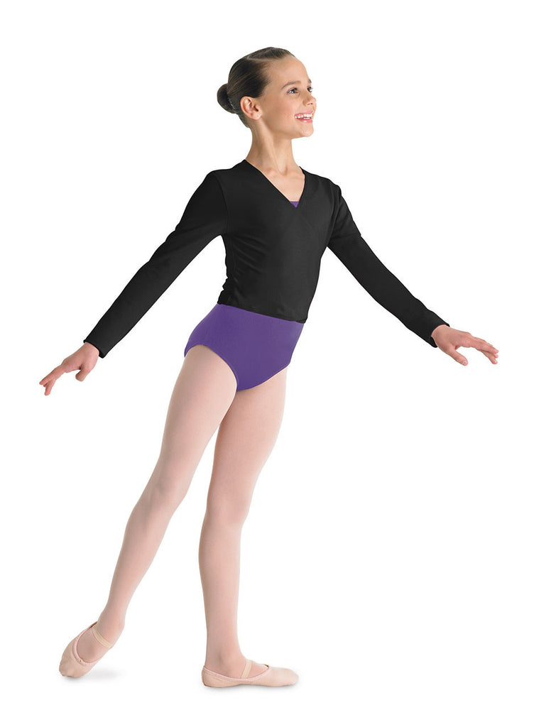 Child Long Sleeve Wrap Top (Black) CZ5407 - Dancer's Wardrobe