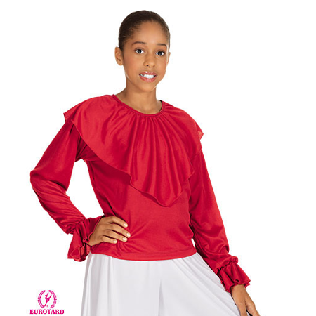 Child Shawl Collard Blouse Eurotard 13736C Red