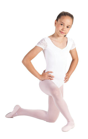 Child Cap Sleeve Leotard with Lace L-575 - Dancer's Wardrobe