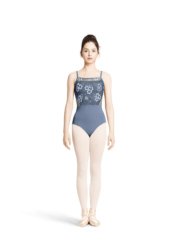 Adult Floral Printed Mesh Camisole Leotard With Side Cut Out M2137LM - ACS (Light Grey Blue), Black