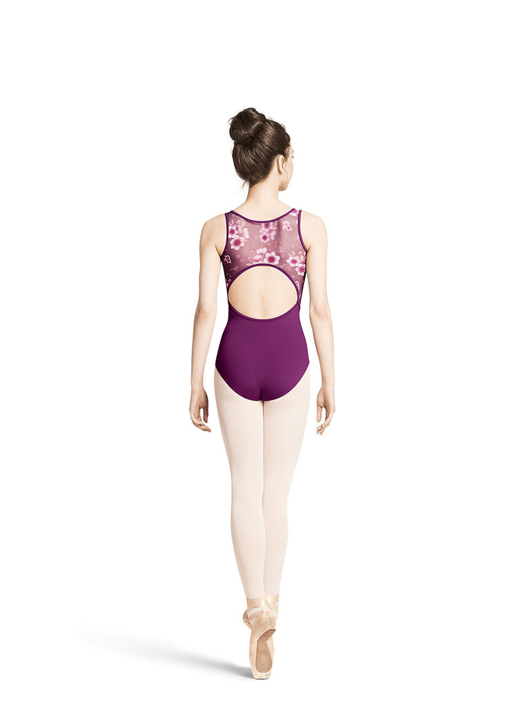 Adult Floral Printed Mesh Tank Leotard M3045LM Black and IRP(Magenta)