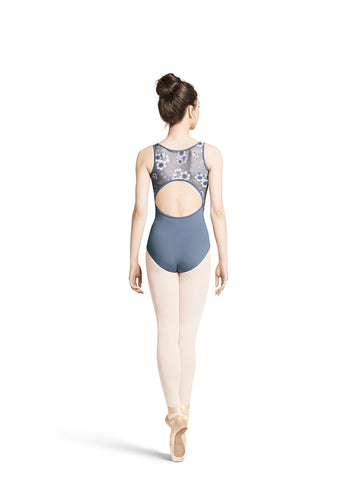 Child Floral Printed Mesh Tank Leotard M3045TM Black, ACS(light grey blue), IRP(magenta)