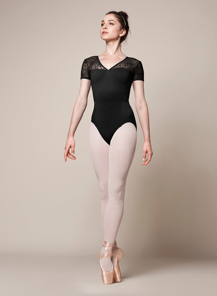 "Adult ""Kristine"" V-neck Cap Sleeve Leotard M5073LM - XSmall & Small, Black"