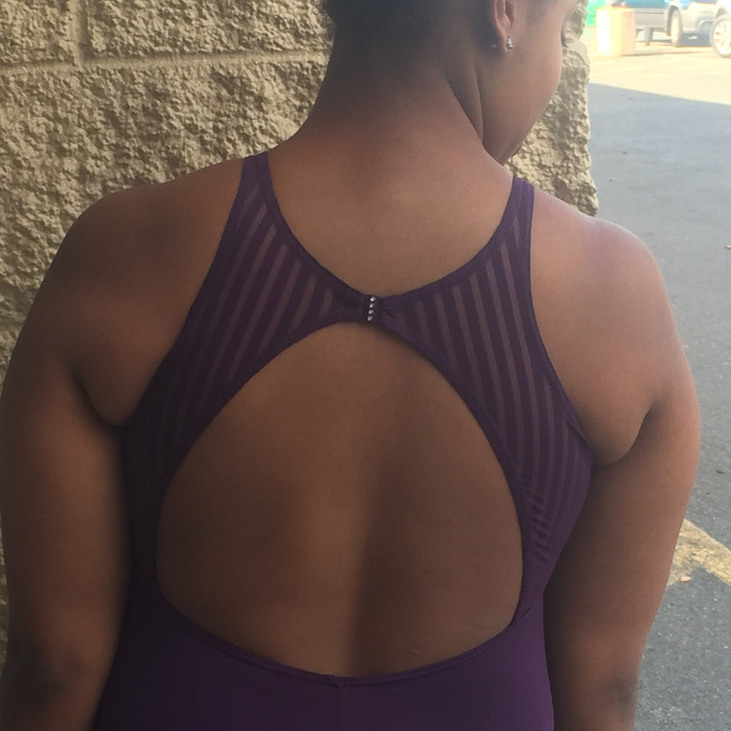 Adult Tank Leotard w/ Striped Mesh (Eggplant) - Dancer's Wardrobe