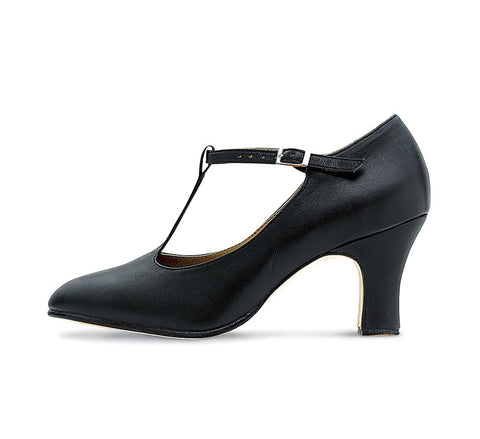 Chord T-Bar Strap Character Heel (Black) - Dancer's Wardrobe