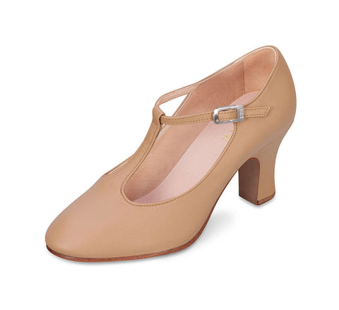 Chord T-Bar Strap Character Heel (Tan) - Dancer's Wardrobe