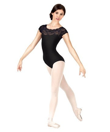 """Matilda"" Adult Lace Short  sleeve off the shoulder Leotard SL16 So Danca (Red, Burgundy)"