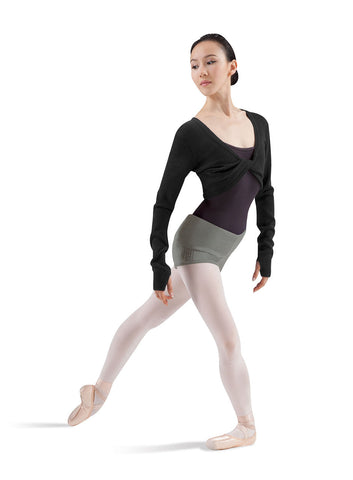 Adult Knit Twist Front Top (Black) - Dancer's Wardrobe