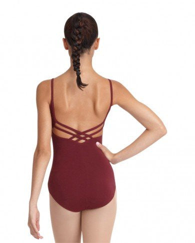 Adult V Neck Camisole Leotard (Burgundy) - Dancer's Wardrobe