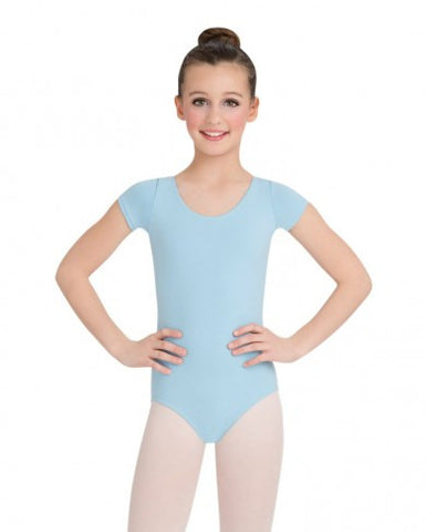 Child Short Sleeve Leotard (Light Blue) - Dancer's Wardrobe