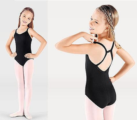 Child Camisole Leotard w/ Back Rhinestones (Black) - Dancer's Wardrobe