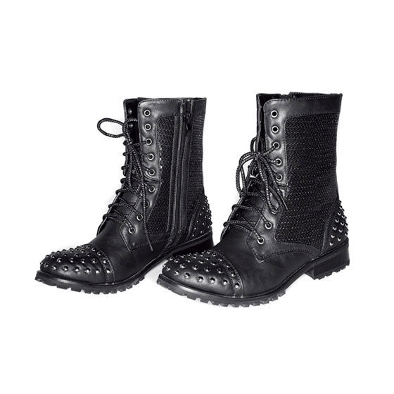 Adult Gia Mia Studded Combat Boot - Dancer's Wardrobe