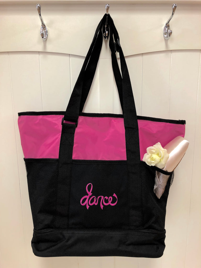 Ribbon Tote - Hot Pink/Black - 8143