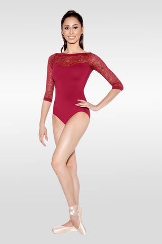 "Adult ""Desiree"" Leotard D-1172 So Danca  (Burgundy, Black, Dark Purple)"