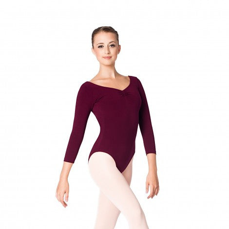 Adult 3/4 Sleeve Leotard (Burgundy) - Dancer's Wardrobe