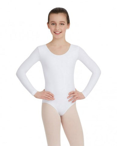 Child Long Sleeve Leotard (White) - Dancer's Wardrobe