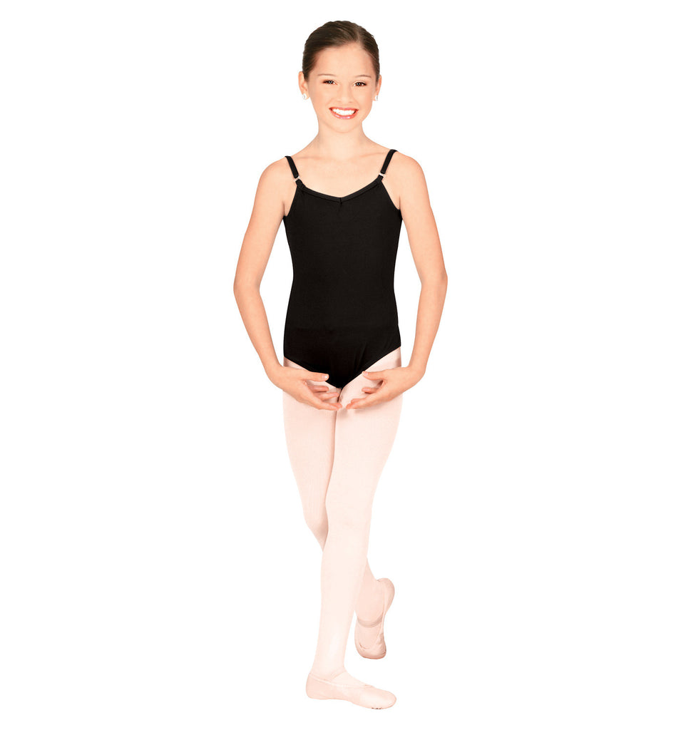 Child Cami Leotard w/Adjustable Straps (Black) - Dancer's Wardrobe
