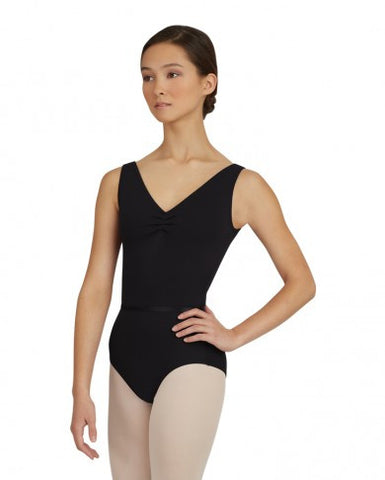 V Neck Pinched Front Leotard (Black) - Dancer's Wardrobe