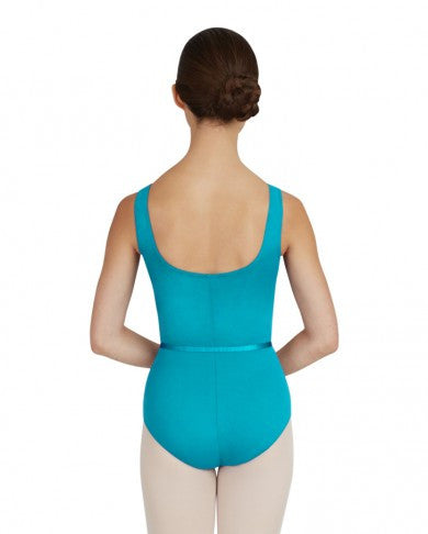 V-NECK PINCH FRONT LEOTARD W/BELT - GIRLS - Dancer's Wardrobe