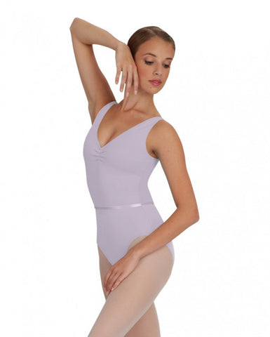 V Neck Pinched Front Leotard (Lavender) - Dancer's Wardrobe