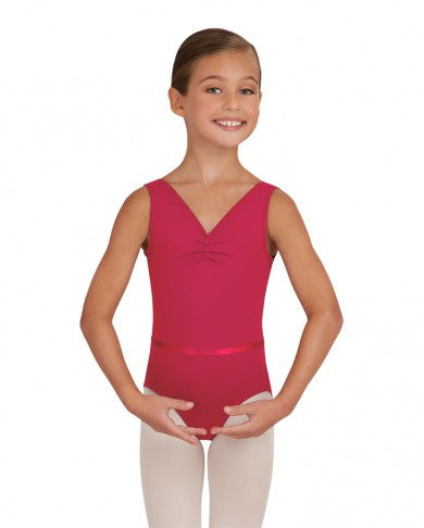 Child V-Neck Pinch Front Leotard W/Belt (CER) - Dancer's Wardrobe
