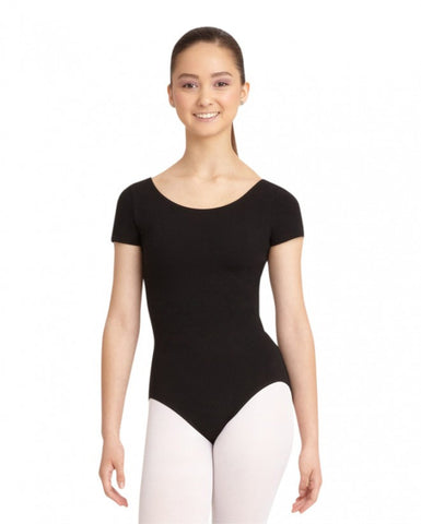 Adult Short Sleeve Leotard (Black) - Dancer's Wardrobe