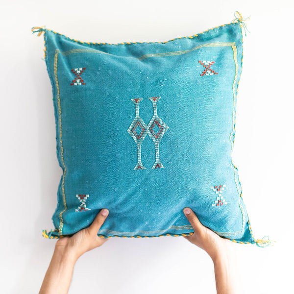Moroccan Cactus Silk Pillow - Turquoise