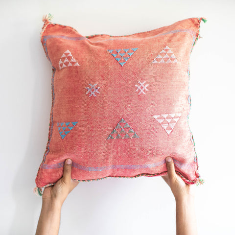 Moroccan Cactus Silk Pillow - Pink