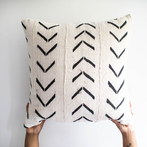 White Mud Cloth Pillow