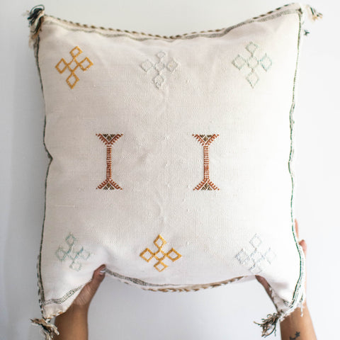 Moroccan Cactus Silk Pillow - Ivory