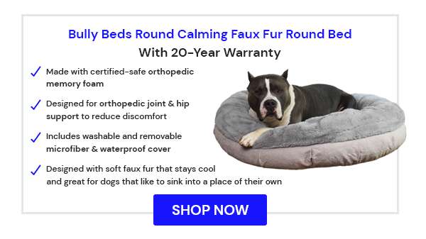 Calming Faux Fur Round Bed - Dog Bed for Dogs With Hip Dysplasia