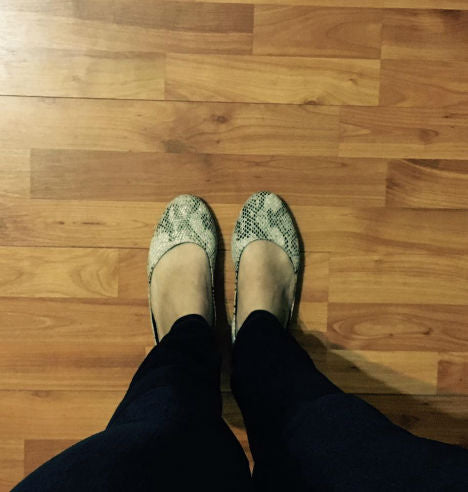 Snakeskin Leather Print Flats