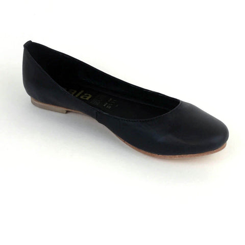 Alex Black Leather Flats