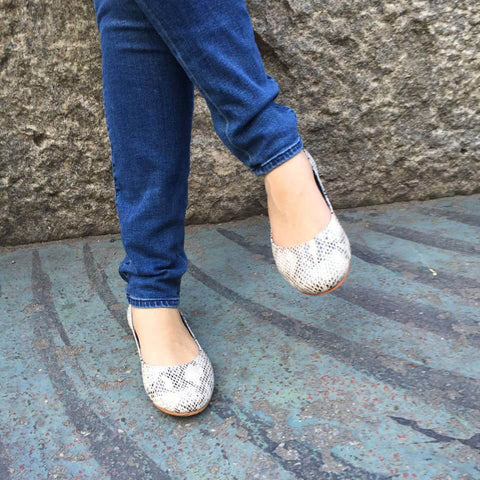 Ava Snakeskin Print Leather Flats