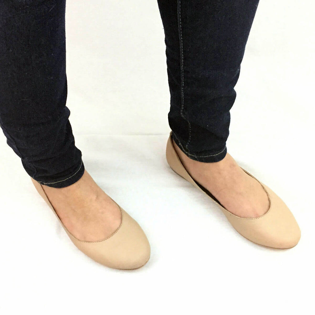Darby Nude Leather Flats - Mala