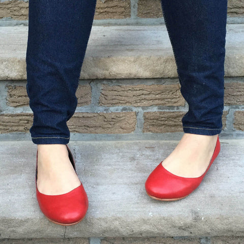 Frances Red Leather Flats
