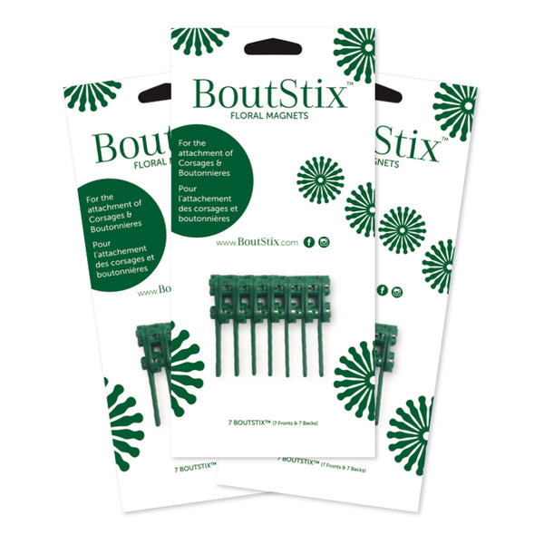 3-Packages of 7 Boutstix Floral Magnets
