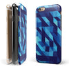 50 Shades of Blue Geometric Triangles iPhone 6/6s or 6/6s Plus 2-Piece Hybrid INK-Fuzed Case