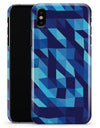 50 Shades of Blue Geometric Triangles - iPhone X Clipit Case