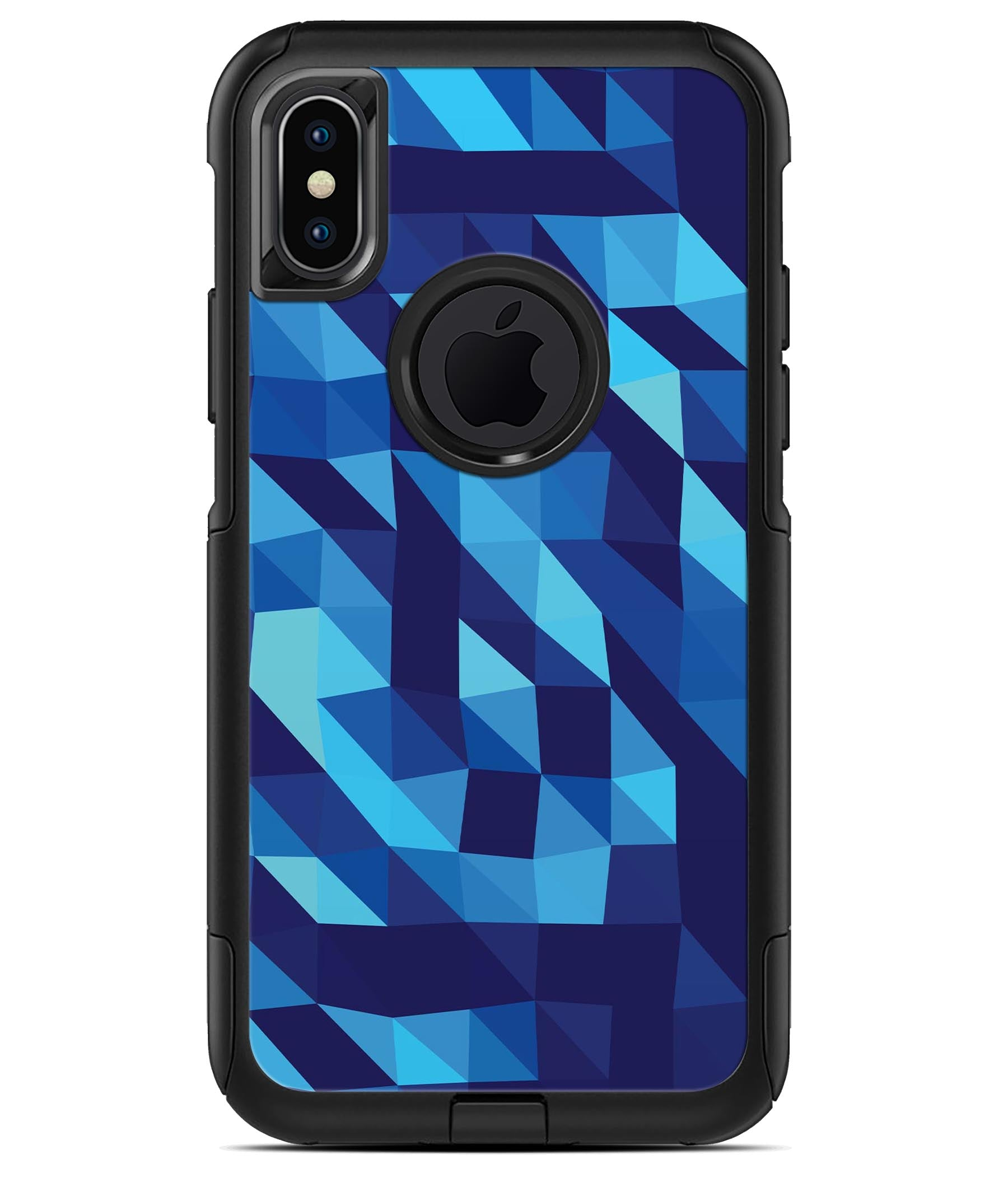 50 Shades of Blue Geometric Triangles - iPhone X OtterBox Case   Skin Kits 2ecb27022f02
