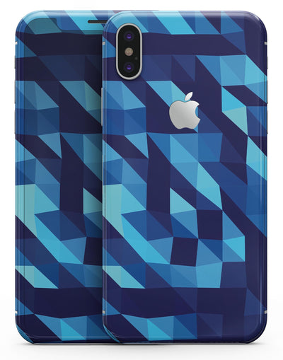 50 Shades of Blue Geometric Triangles - iPhone X Skin-Kit