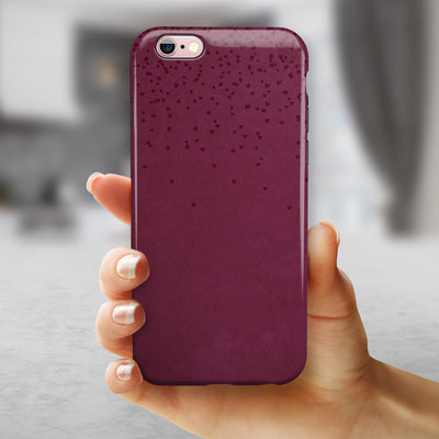 50 Shades of Burgandy Micro Hearts iPhone 6/6s or 6/6s Plus 2-Piece Hybrid INK-Fuzed Case