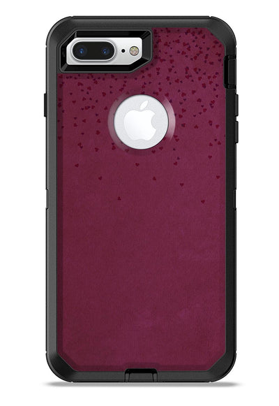 50 Shades of Burgandy Micro Hearts - iPhone 7 or 7 Plus Commuter Case Skin Kit