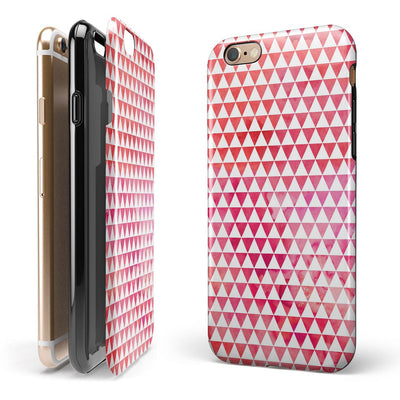 50 Shades of Pink Micro Triangles iPhone 6/6s or 6/6s Plus 2-Piece Hybrid INK-Fuzed Case