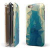 Abstract Aqua and Gold Geometric Shapes iPhone 6/6s or 6/6s Plus 2-Piece Hybrid INK-Fuzed Case
